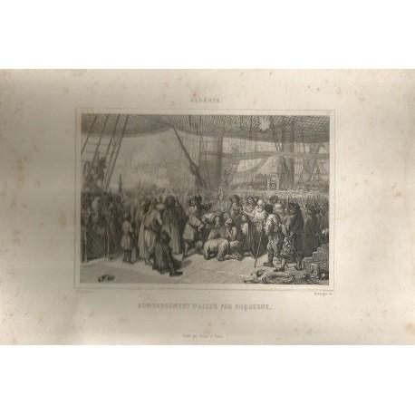 """Lithographie """"Bombardement d'Alger par Duquesne"""""""